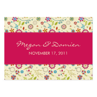 Retro Flowers · Cerise · Wedding Favor Tag Business Card Template