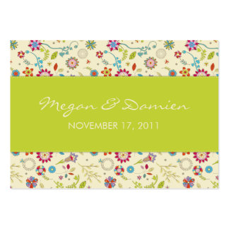 Retro Flowers · Green · Wedding Favor Tag Business Card