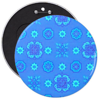 Retro Flowers Neon Blue Pinback Button