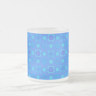 Retro Flowers Neon Blue Coffee Mugs