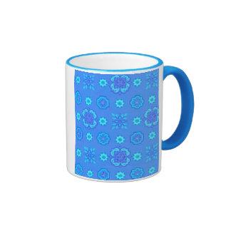 Retro Flowers Neon Blue Coffee Mug