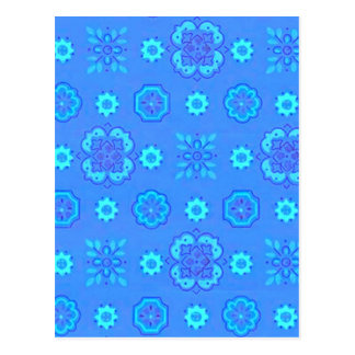 Retro Flowers Neon Blue Postcard