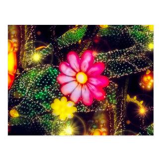 Retro Flowers Neon Lights Postcard