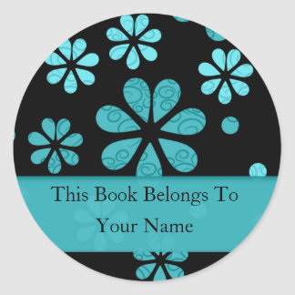 Retro Flowers Personalised Bookplates : Teal Round Sticker