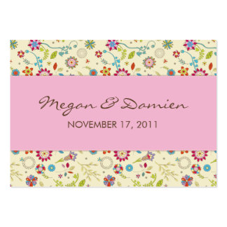 Retro Flowers · Pink · Wedding Favor Tag Business Card Template