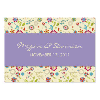 Retro Flowers · Purple · Wedding Favor Tag Business Card