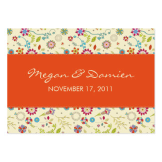 Retro Flowers · Red · Wedding Favor Tag Business Card Template
