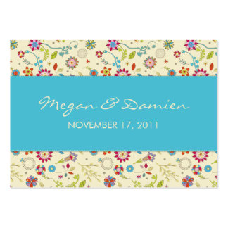 Retro Flowers · Turquoise · Wedding Favor Tag Business Cards