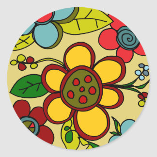 Retro Flowers Urban Colors Classic Round Sticker