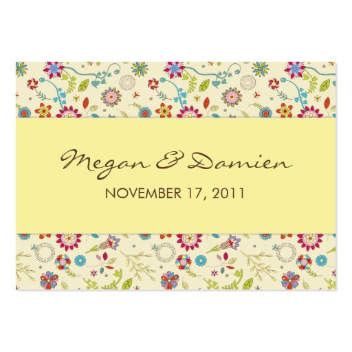 Retro Flowers · Yellow · Wedding Favor Tag Business Cards