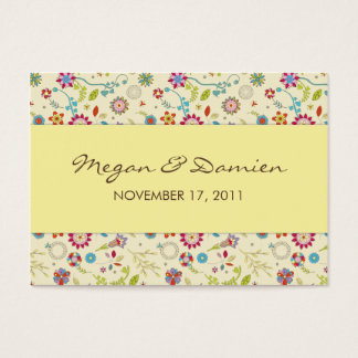 Retro Flowers · Yellow · Wedding Favor Tag Business Card