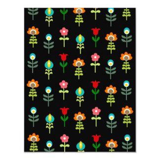 Retro folk floral pattern personalized invites