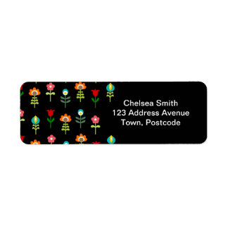 Retro folk floral pattern return address label