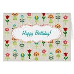 Retro folk flower pattern Happy Birthday Greeting Card