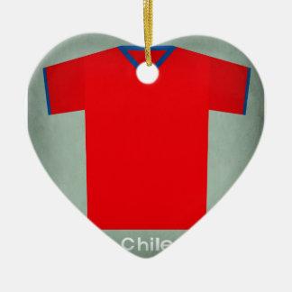 Retro Football Jersey Chile Ceramic Heart Decoration