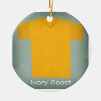 Retro Football Jersey Ivory Coast Round Ceramic Decoration