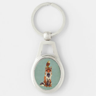 Retro Fox & Owl Keychain Silver-Colored Oval Key Ring