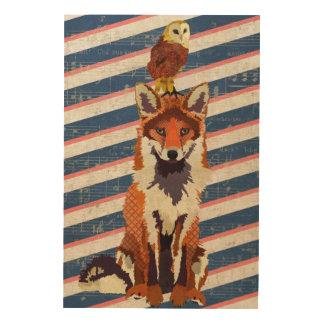 Retro Fox & Owl Wooden Canvas Wood Print