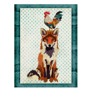 RETRO FOX & ROOSTER Postcard