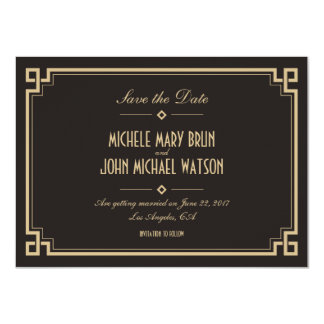 Retro Frame Art Deco Dark Save the Date Card 11 Cm X 16 Cm Invitation Card