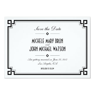 Retro Frame White Art Deco Save the Date Card