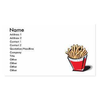 retro french fries design business card templates
