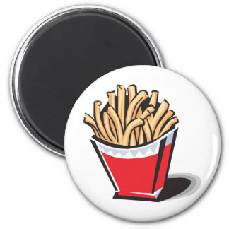 retro french fries design 6 cm round magnet