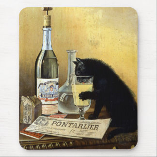 "Retro french poster ""absinthe bourgeois"" mouse pad"
