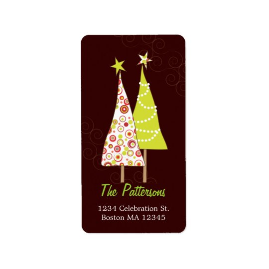 Retro Funky Christmas Trees Address Labels