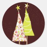 Retro Funky Christmas Trees Round Envelope Seal Round Stickers