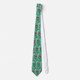 RETRO FUNKY FLAMINGO IN SPANISH MOSS JUNGLE TIE