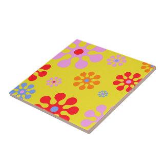 Retro Funky Flower Pattern Yellow Trivet Ceramic Tile