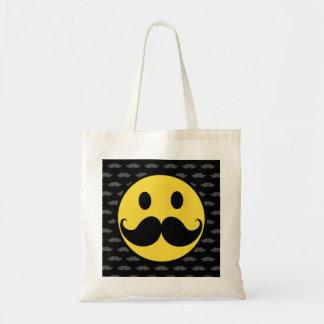 Retro Funky Smiley Mustache Moustache Tote Bag