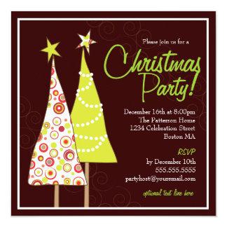 Retro Funky Tree Christmas Party Invitation