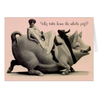 Retro Funny Birthday Card Lady on Pig Saying