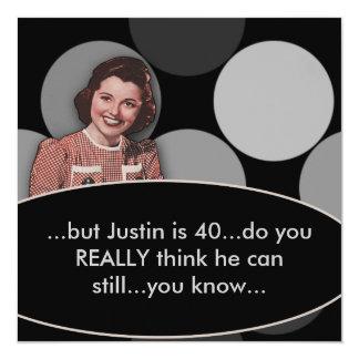 Retro Funny Mans 40th Birthday Party 13 Cm X 13 Cm Square Invitation Card