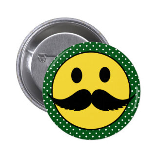 Retro Funny Mustache Moustache Smiley Face Buttons