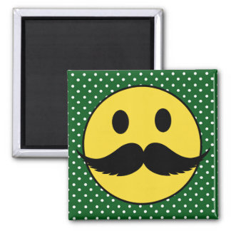 Retro Funny Mustache Moustache Smiley Face Magnet