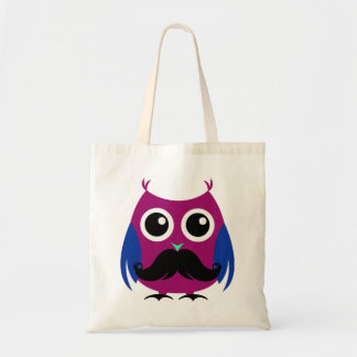 Retro Funny Owl with Handlebar Mustache