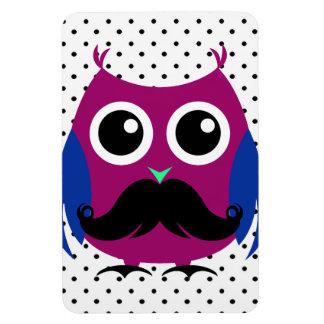 Retro Funny Owl with Handlebar Mustache Flexible Magnet