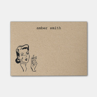 Retro Funny Vintage Woman Personalized Reminder Post-it Notes