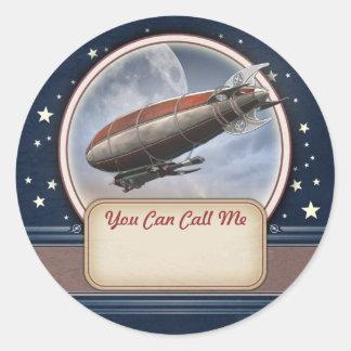 Retro Future Airship Name Tag Stickers