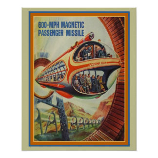 Retro Futuristic Flying Fish Passenger Missile Poster