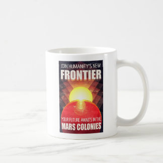 Retro Futuristic Mars Colonization Illustration Coffee Mug