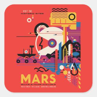 Retro Futuristic Mars Tourism Illustration Square Sticker