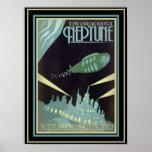 Retro Futuristic Travel Neptune Poster 12 x 16