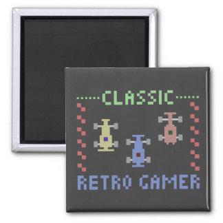 Retro Gamer Racing Square Magnet