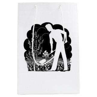 Retro Gardener Silhouette Medium Gift Bag