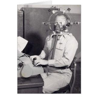 Retro Gas Mask Man Card