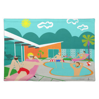 Retro Gay Pool Party Cloth Placemat